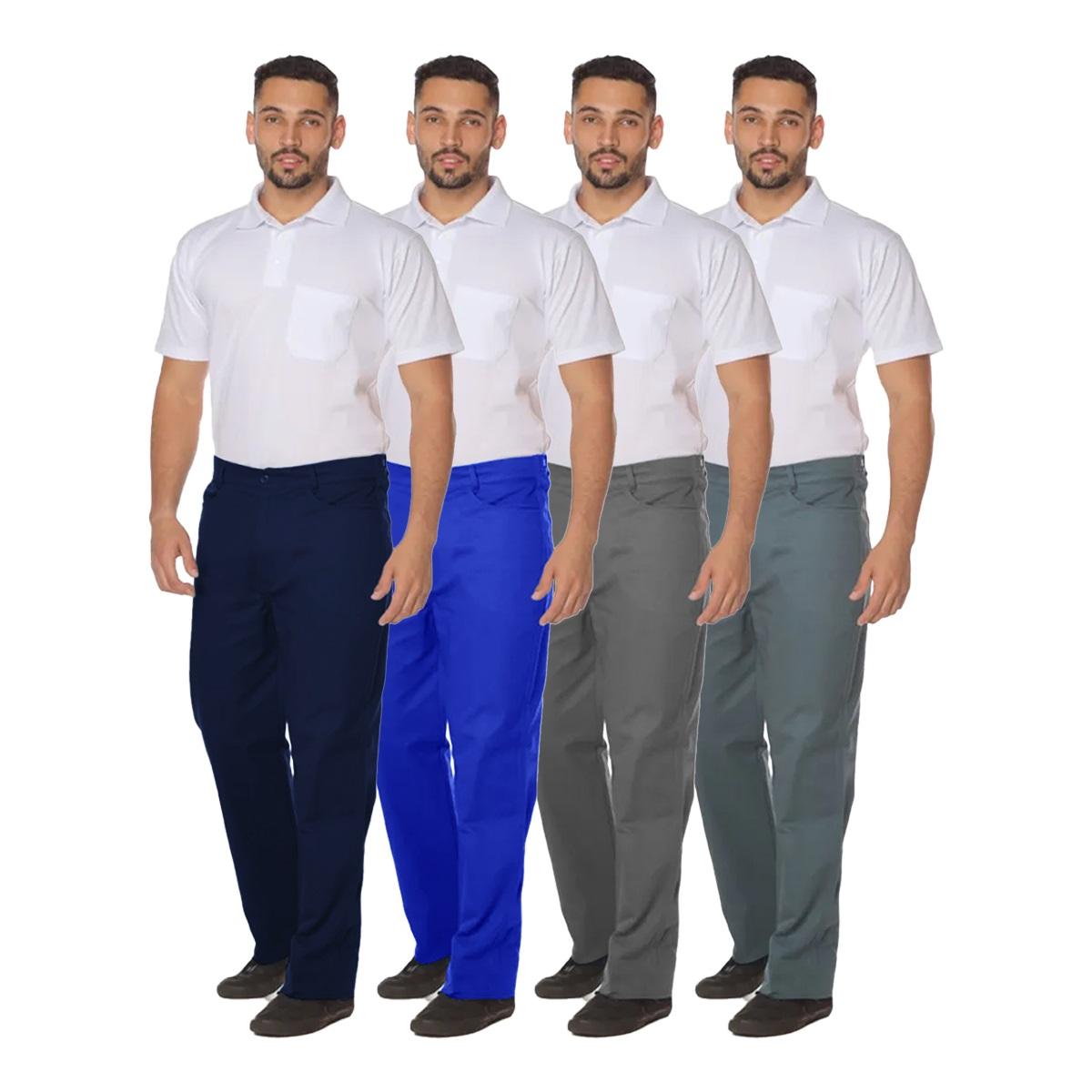 Calça profissional operacional masculina brim cós meio elástico