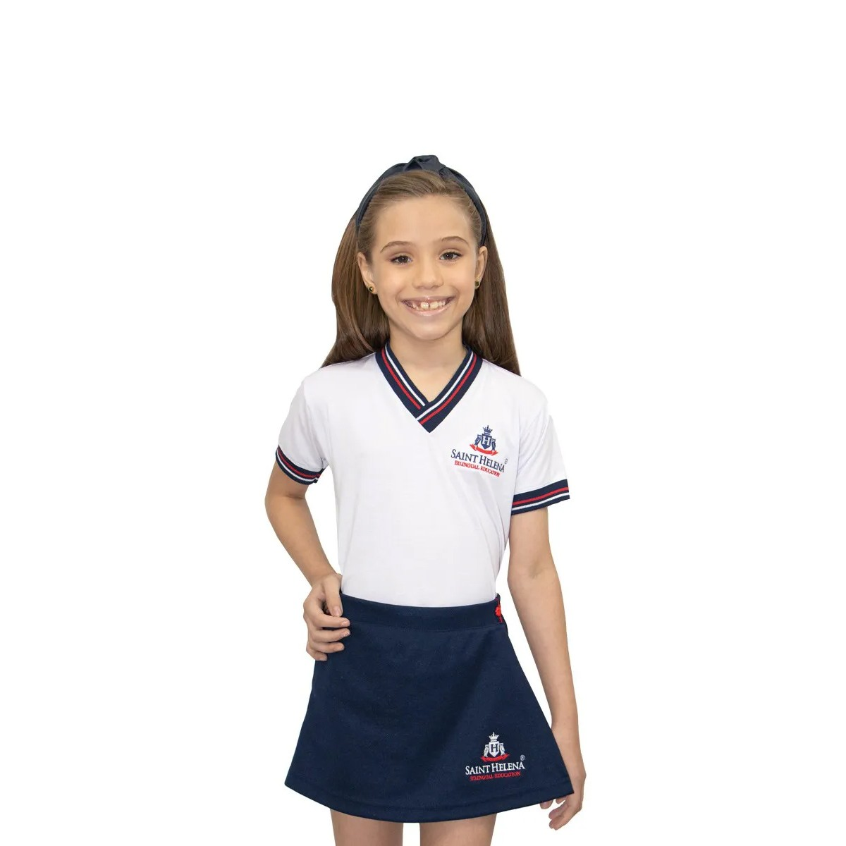 Camiseta Baby Look gola V - Colégio Saint Helena