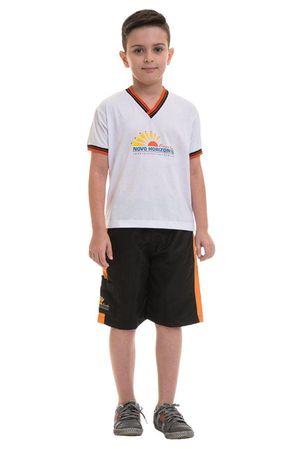 Camiseta manga curta em poliviscose. Colégio Novo Horizonte.