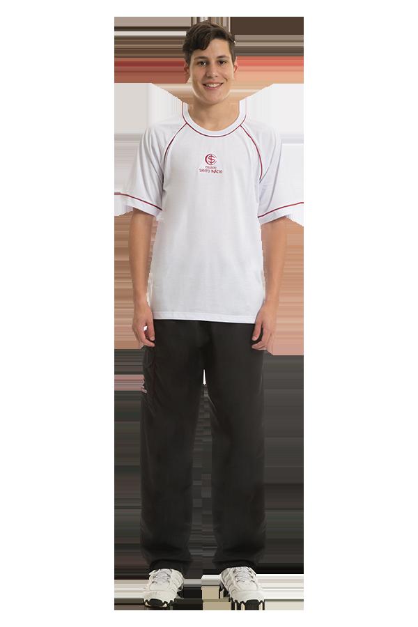Camiseta manga curta em poliviscose. Colégio Santo Inácio.