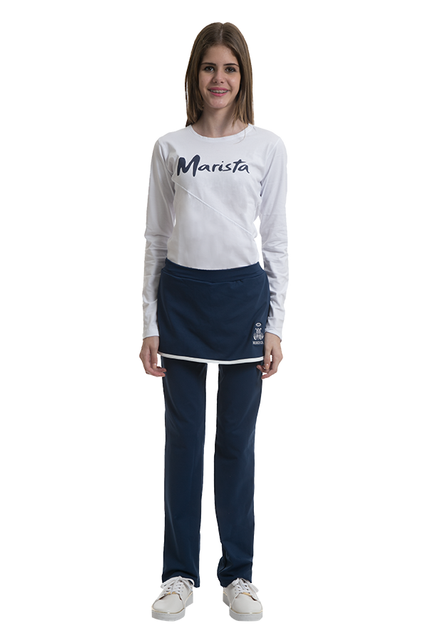 Camiseta manga longa em malha confort branca. Colégio Marista. Ref. F27