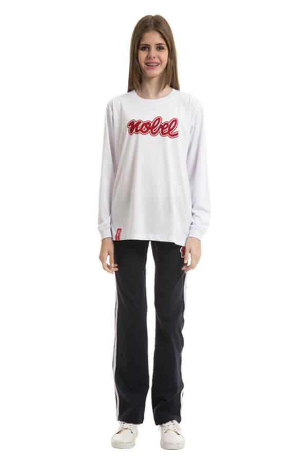 Camiseta manga longa bilíngue em poliviscose. Colégio Nobel.
