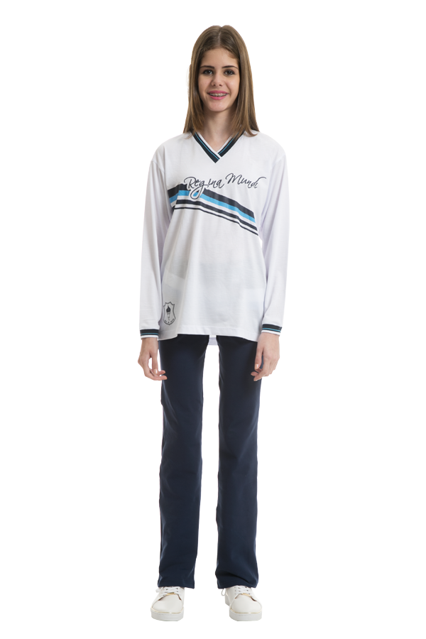 Camiseta manga longa em poliviscose. Colégio Regina Mundi.