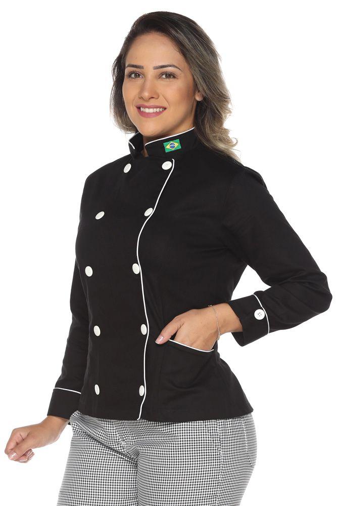 Dolmã chef de cozinha feminina com bandeira em algodão