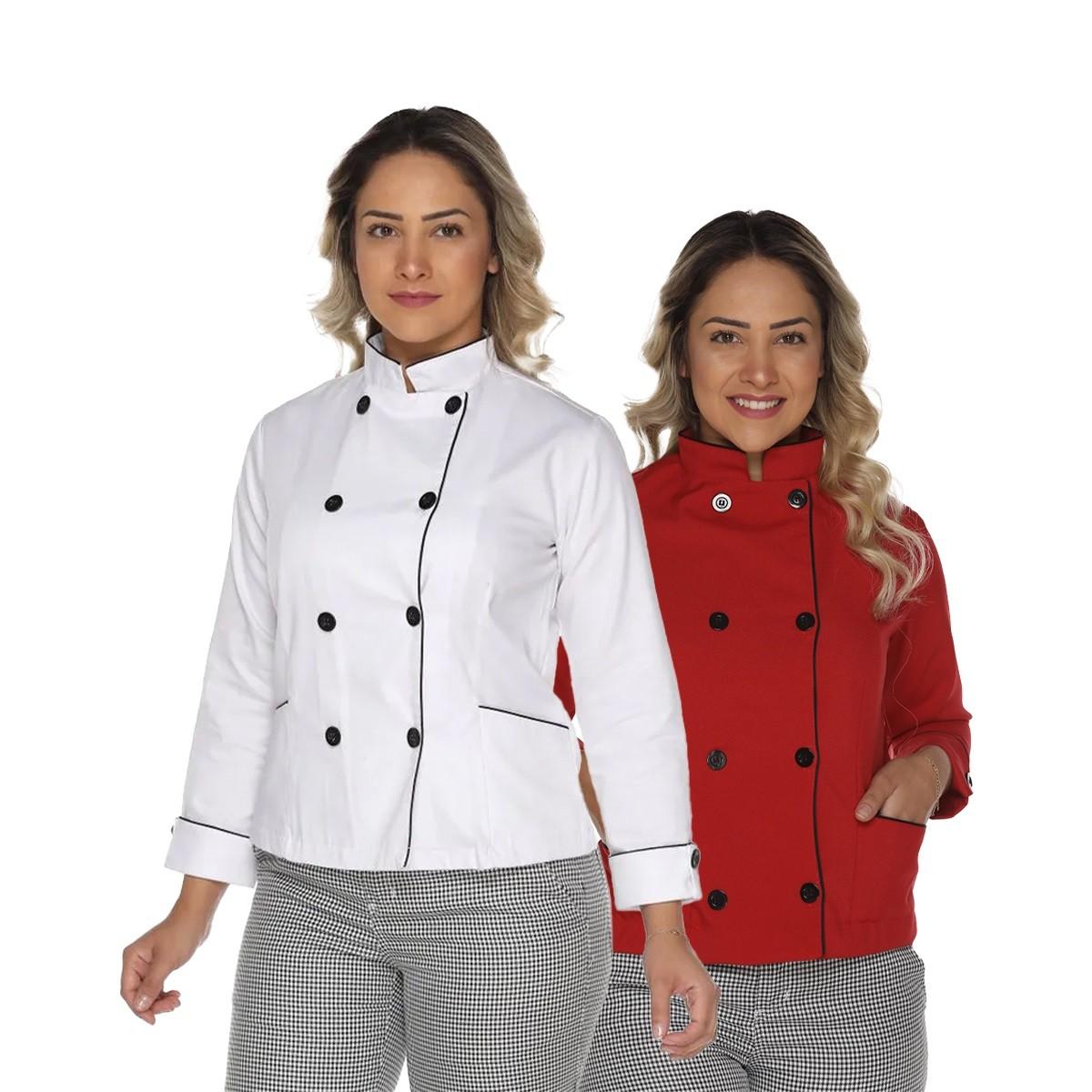 Dolmã chef de cozinha feminina em algodão