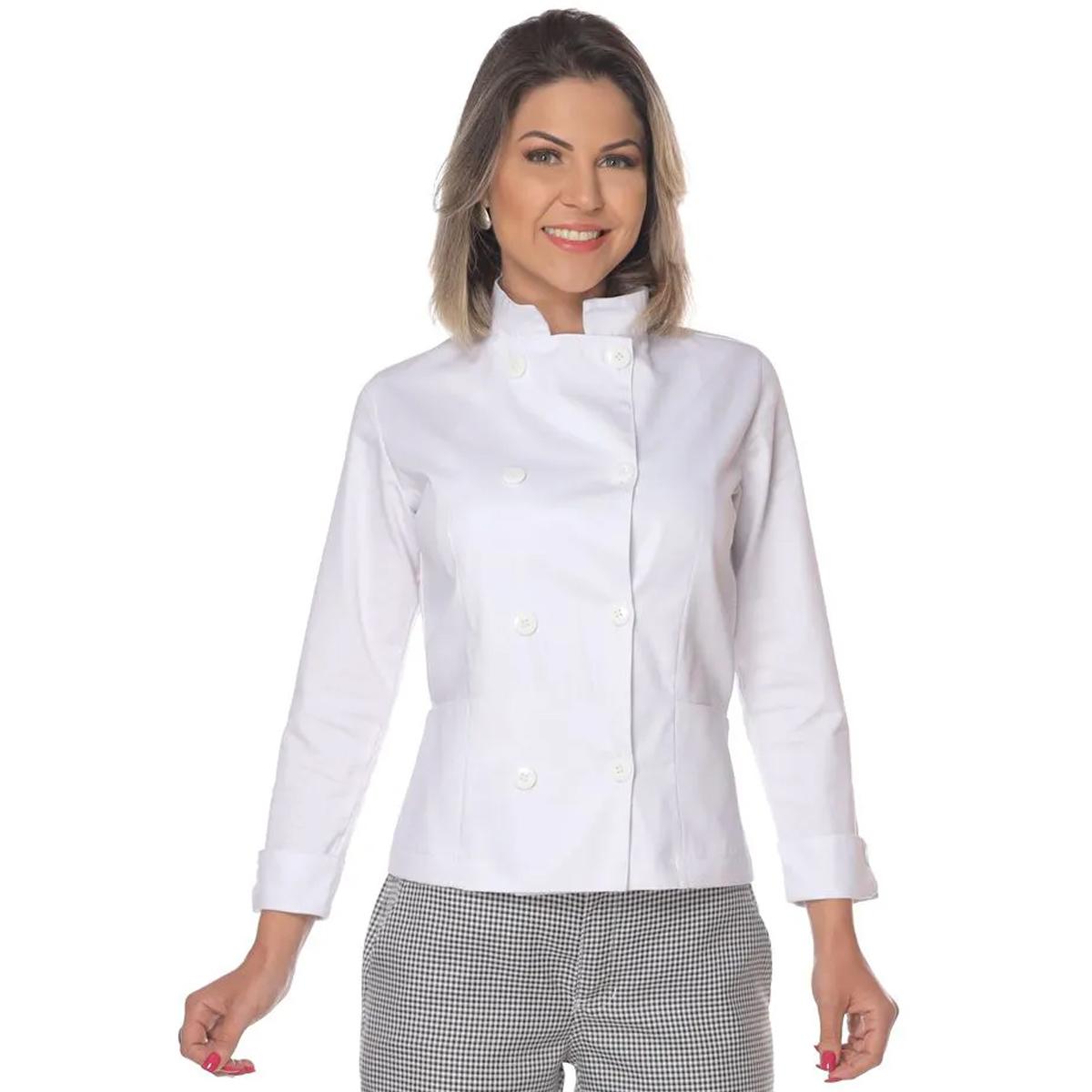 Dolmã chef de cozinha feminina branco em Algodão