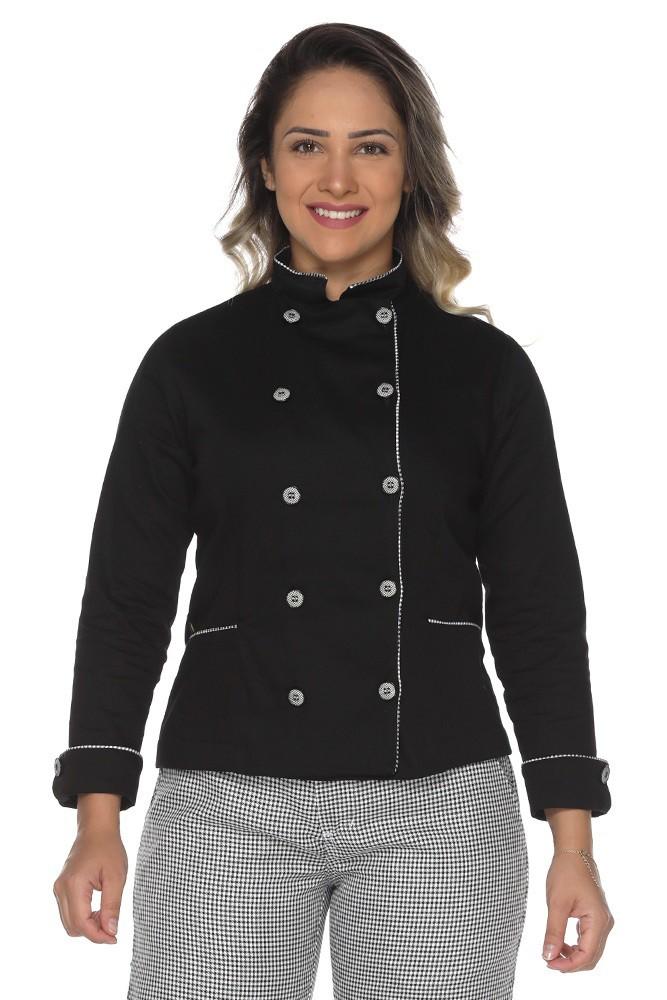 Dolmã chef de cozinha feminina com friso pied poule