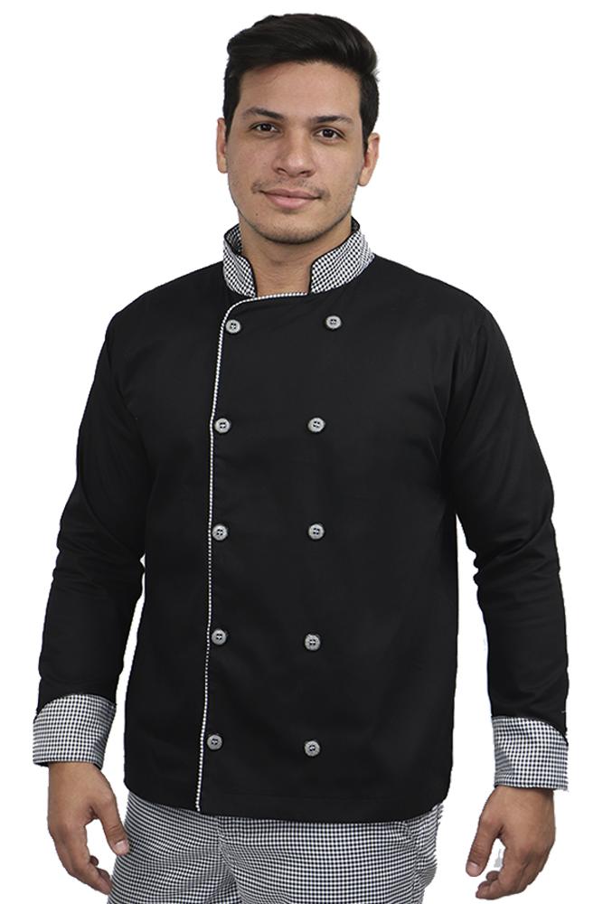 Dolmã chef cozinha masculino detalhe pied poule