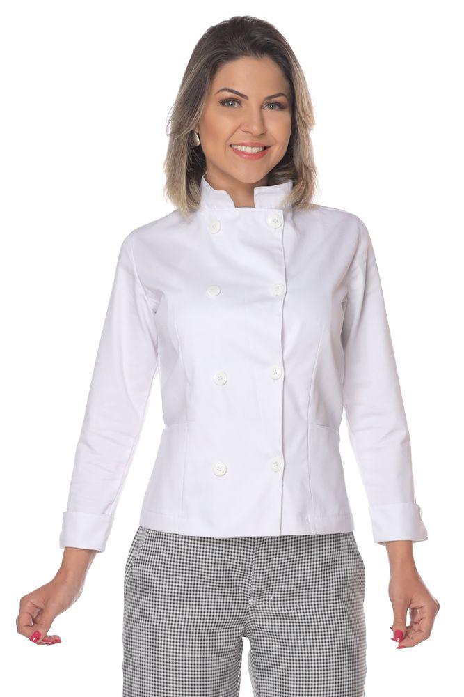 Dolmã chef cozinha feminino branco