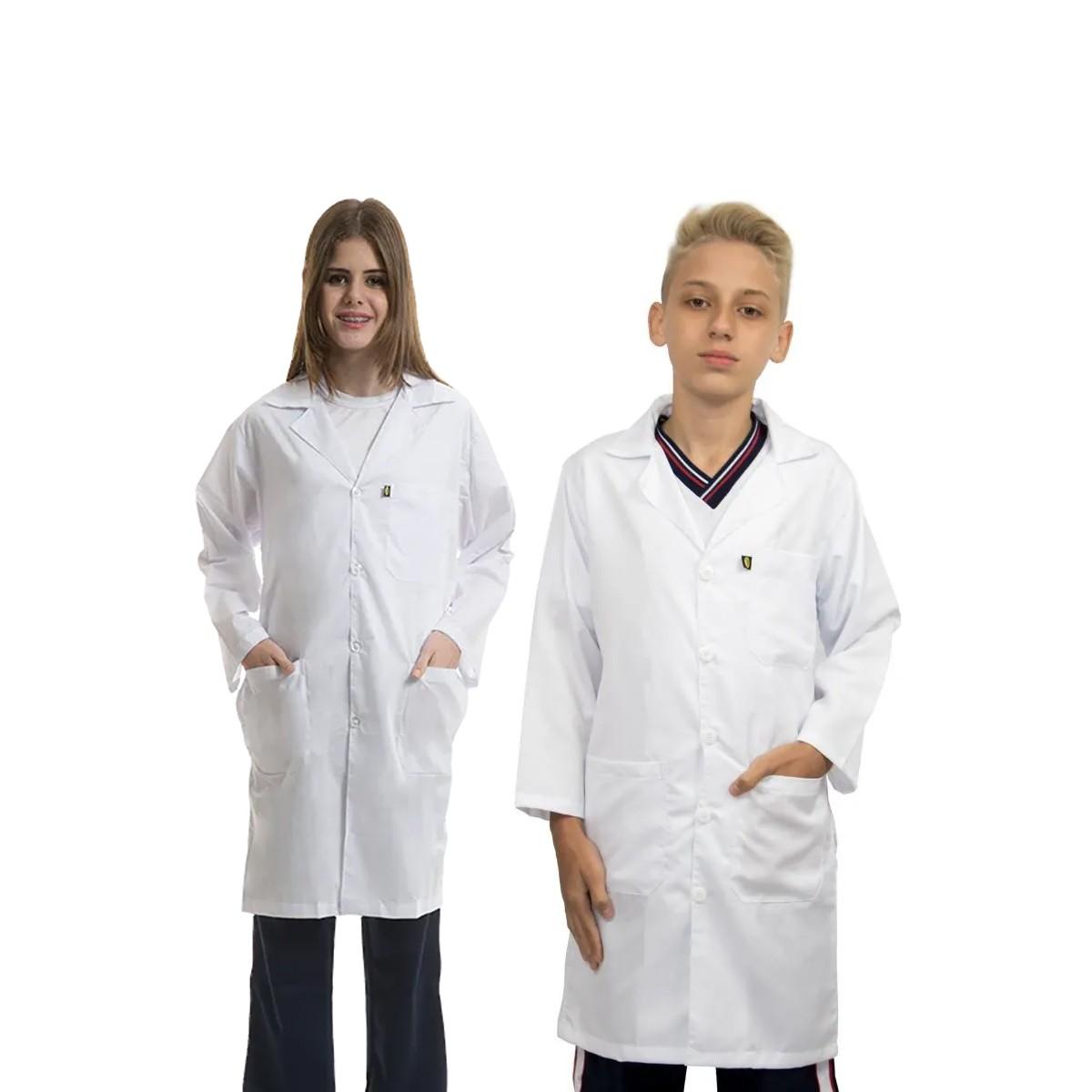 Jaleco infantil estudante laboratório escolar unissex algodão