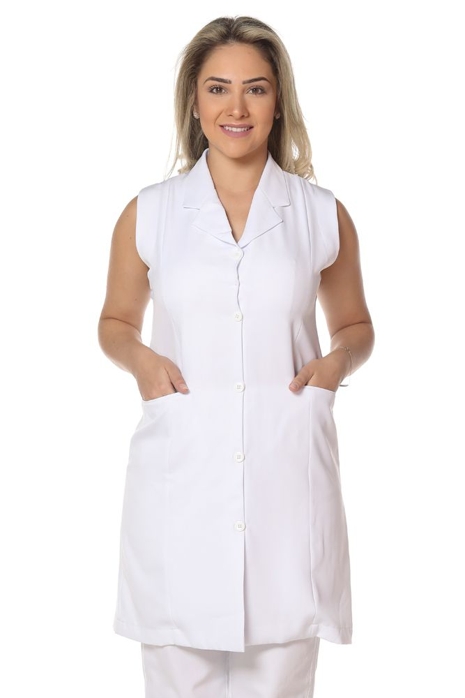 Jaleco feminino sem manga corporat gabardine