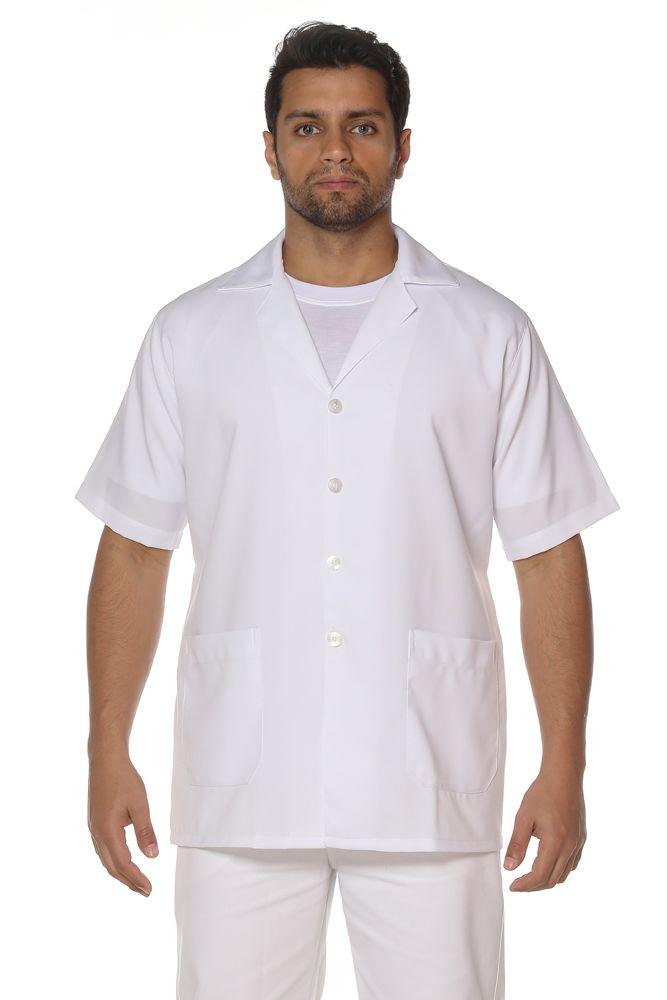 Jaleco masculino manga curta em microsarja