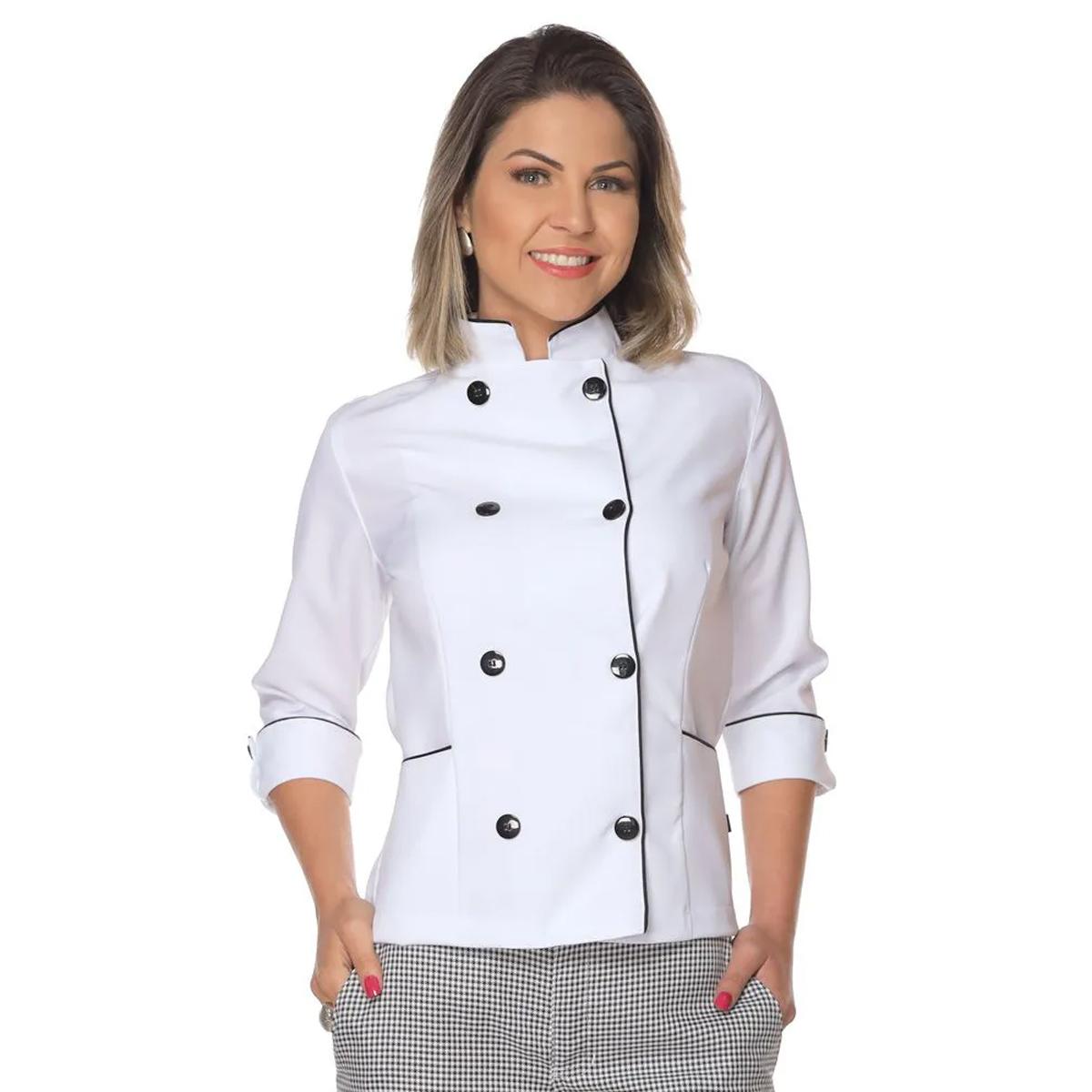 Kit 10  Dolmãs chef de cozinha feminina manga 3/4
