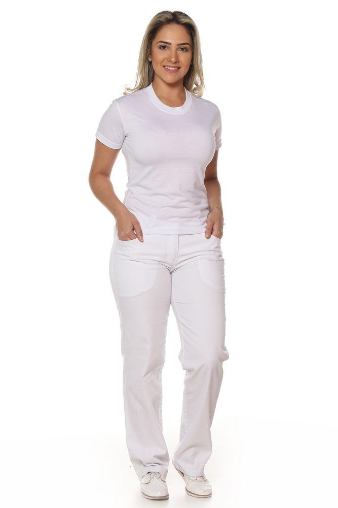Kit 2 Calças branca feminina, cós meio elástico