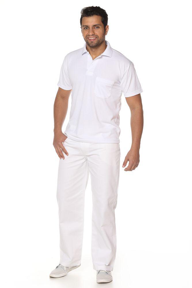 Kit 2 Calças branca masculina, cós meio elástico