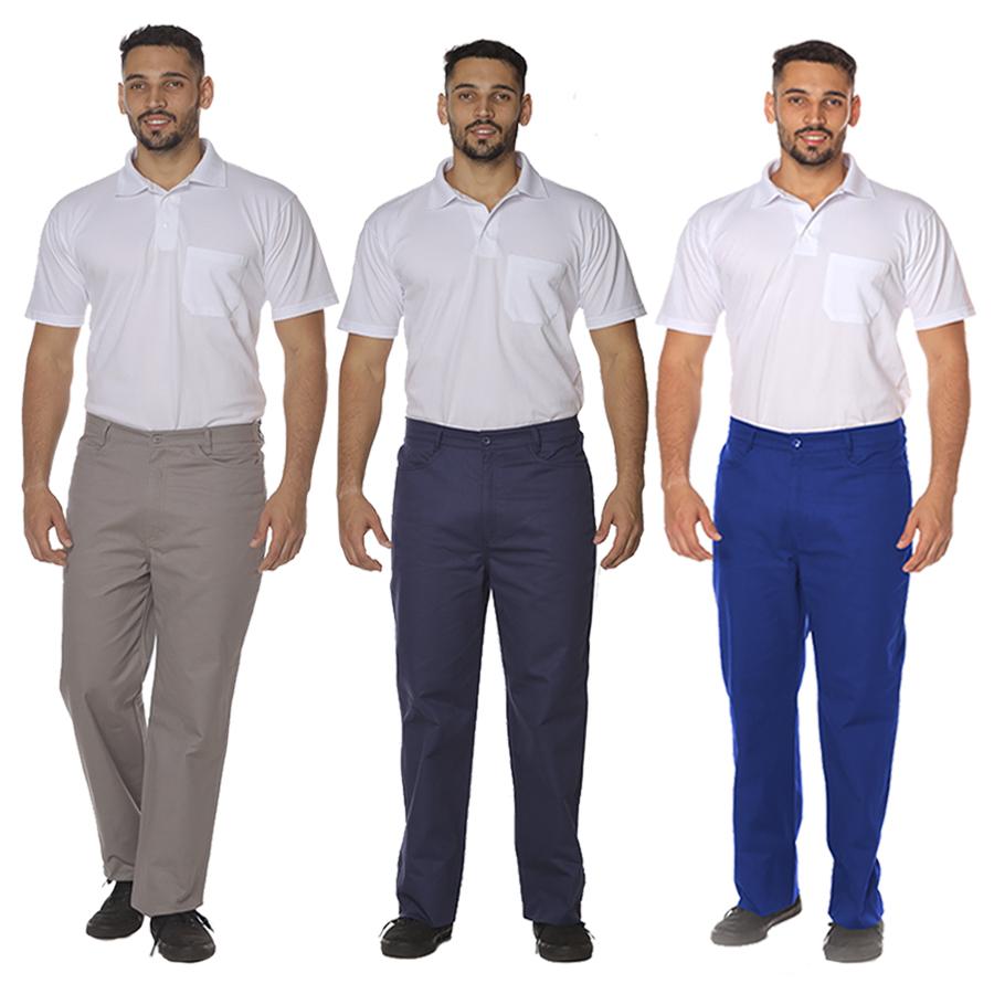 Kit 2 Calças Masculina Profissional Operacional Brim Cós Meio Elástico