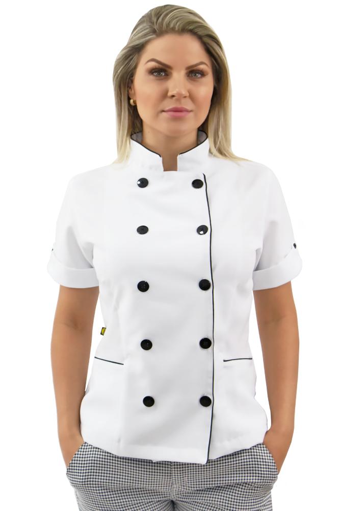 Kit 2 Dolmã chef cozinha feminina manga curta