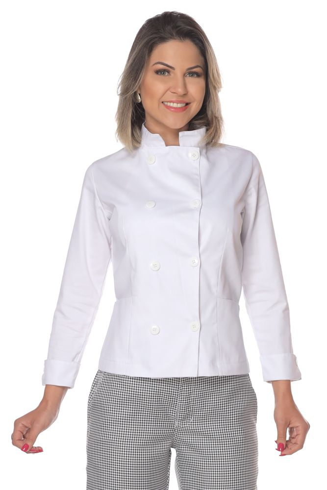 Kit 2 Dolmãs chef cozinha feminino branco
