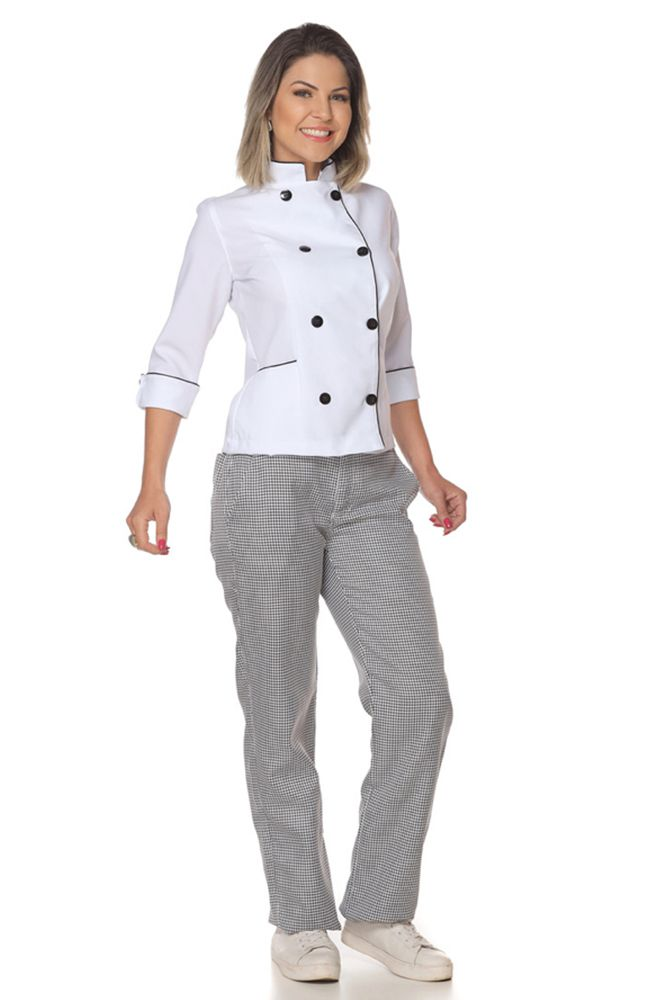 Kit 5  Calças cozinheira chef de cozinha xadrez pied poule