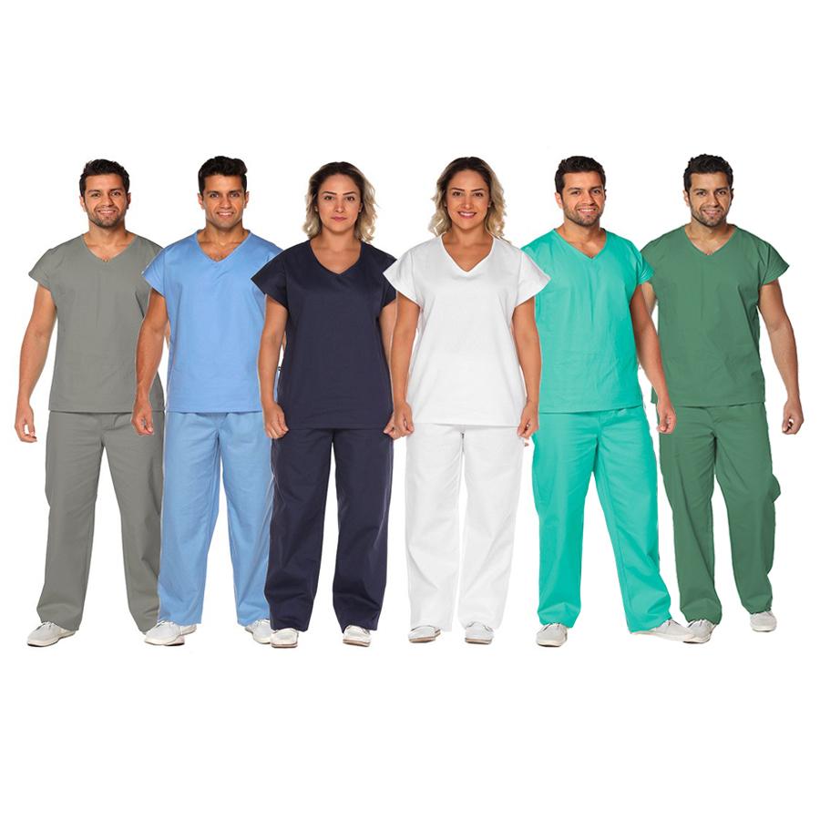 Kit 5 Pijamas uniforme centro cirúrgico algodão