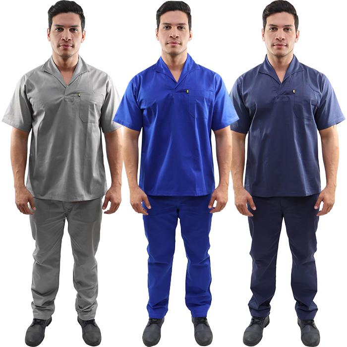Kit Calça Profissional Operacional Masculina Brim Cós meio Elástico + Camisa Operacional Brim Gola Italiana