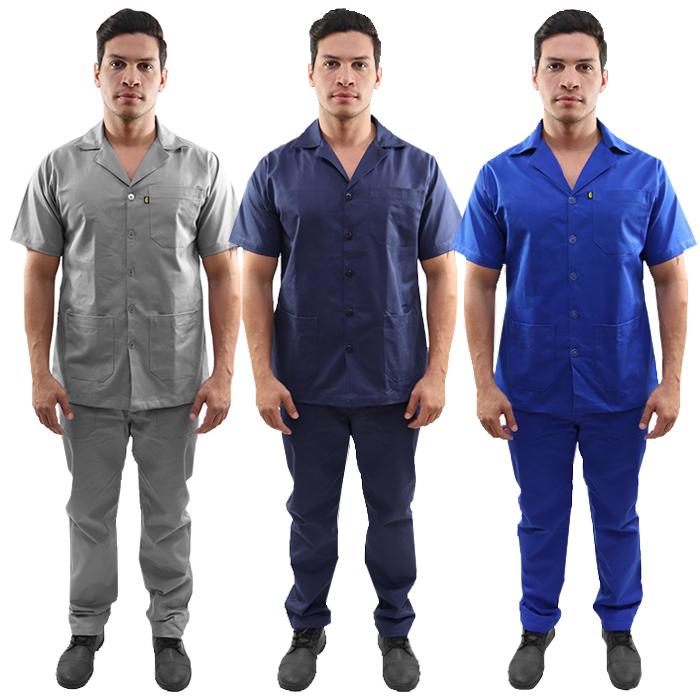 Kit Calça Profissional Operacional Masculina em Brim Cós Meio Elástico + Jaleco Profissional Operacional em Brim