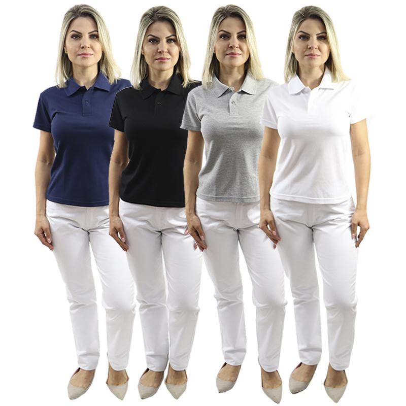 Kit Camisa Polo Feminina Baby Look + Calça Branca