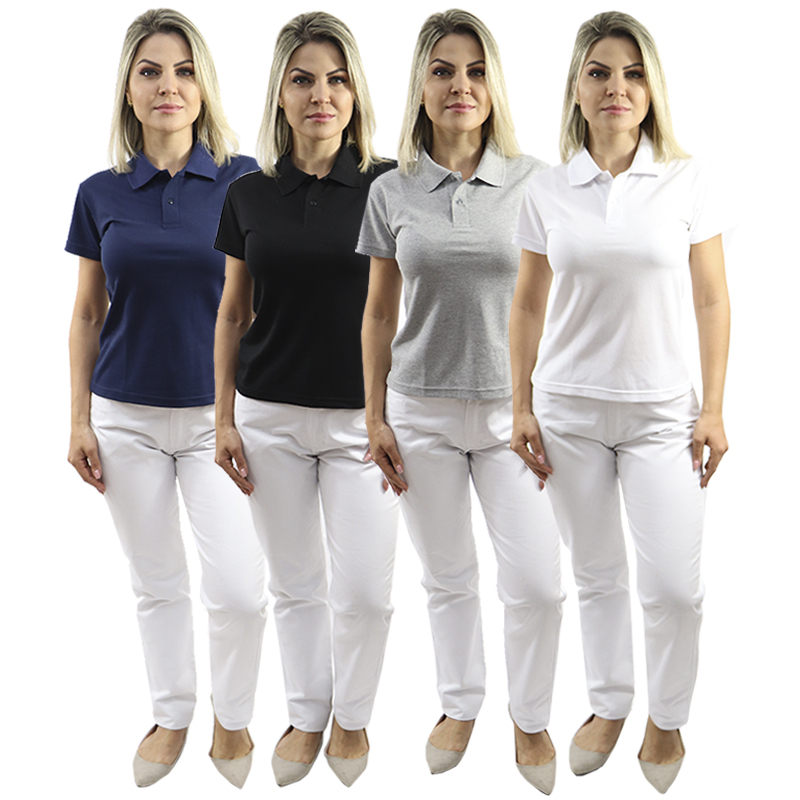 Kit Camisa Polo Feminina Baby Look + Calça Branca Cós Meio Elástico