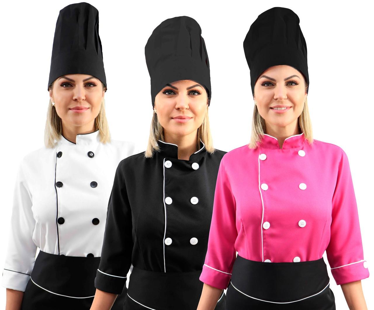 Kit chef cozinha feminino Dolmã manga 3/4 + Avental preto + Chapéu preto