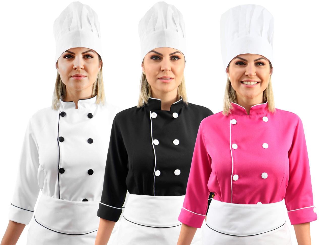 Kit Chef Cozinha Feminino Dolmã Manga 3/4 + Avental branco + Chapéu branco