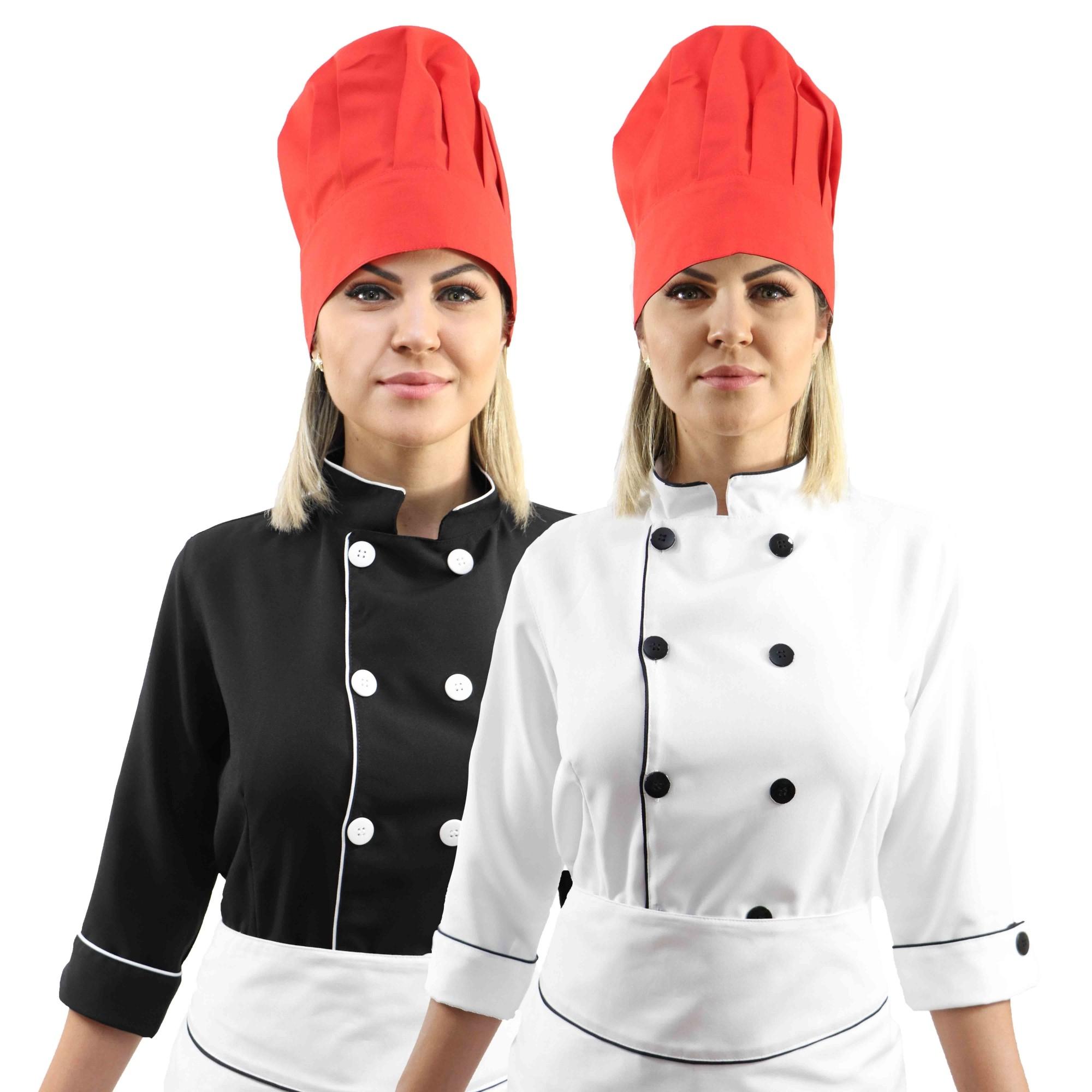 Kit Chef Cozinha Feminino Dolmã Manga 3/4 + Avental branco + Chapéu vermelho