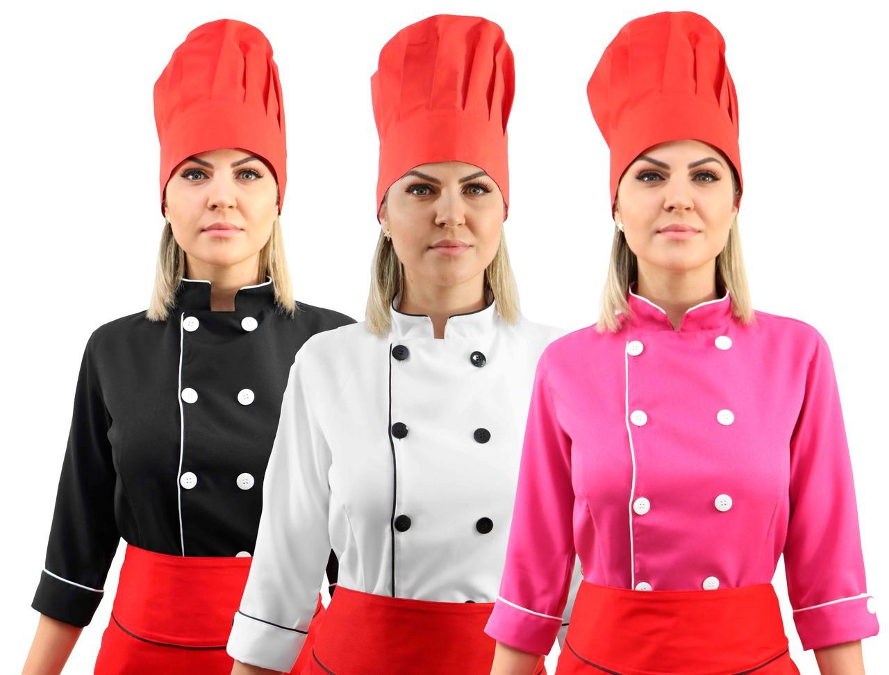 Kit Chef Cozinha Feminino Dolmã Manga 3/4 + Avental vermelho + Chapéu vermelho