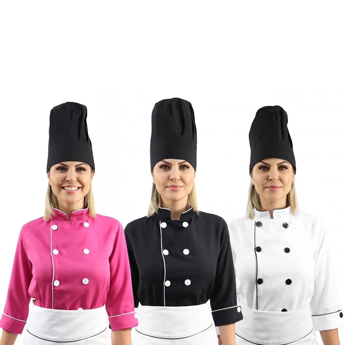 Kit chef cozinha feminino Dolmã manga 3/4 +  Avental branco + Chapéu preto