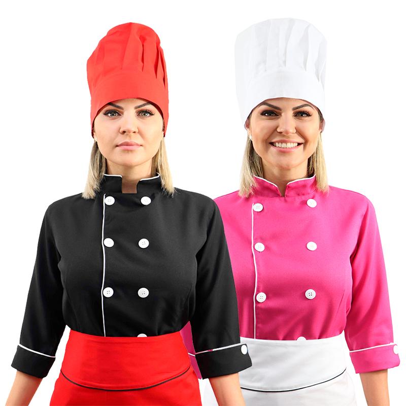 Kit Chef cozinha feminino Dolmã manga 3/4 + Avental + Chapéu