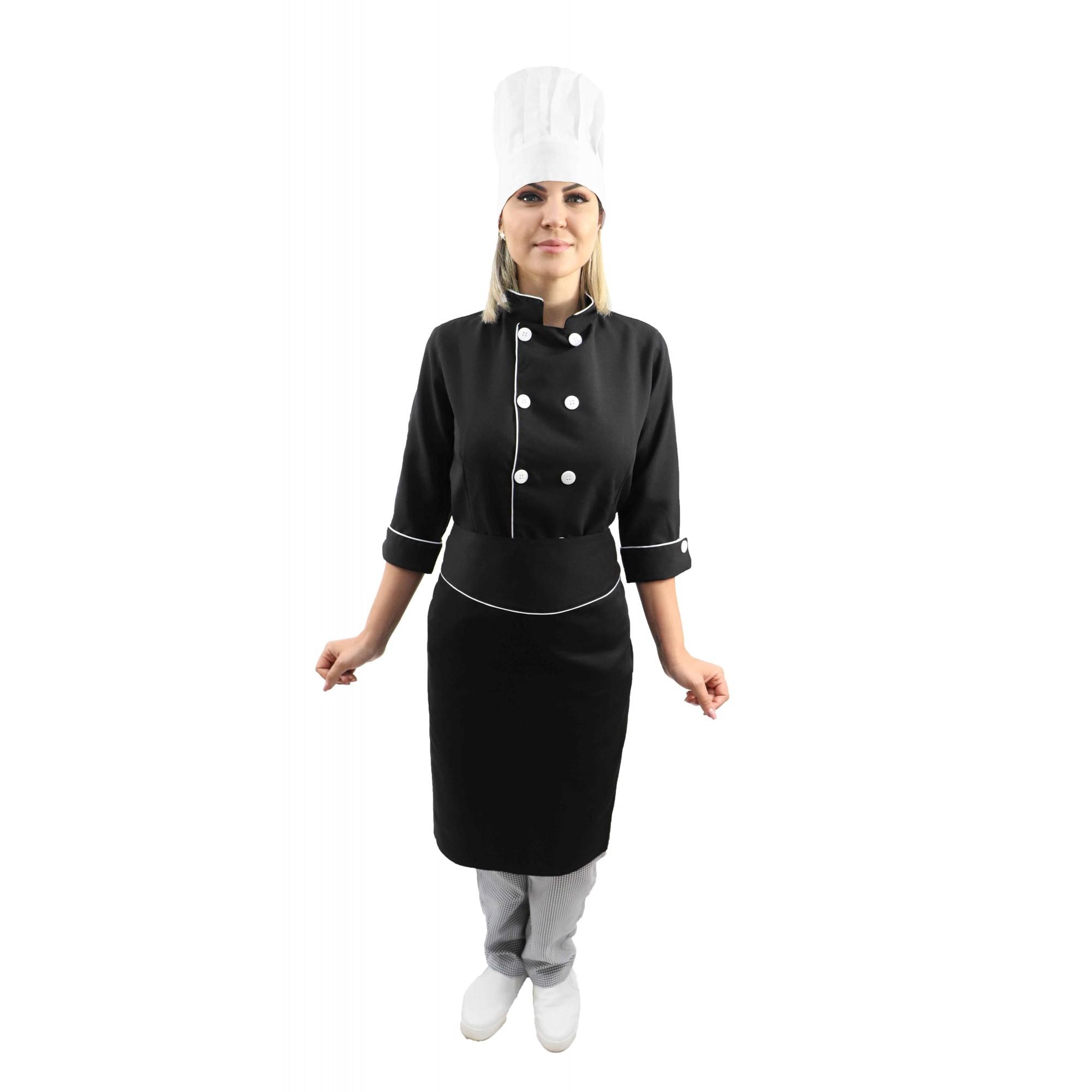 Kit chef cozinha feminino Dolmã manga 3/4 + Avental preto + Chapéu branco