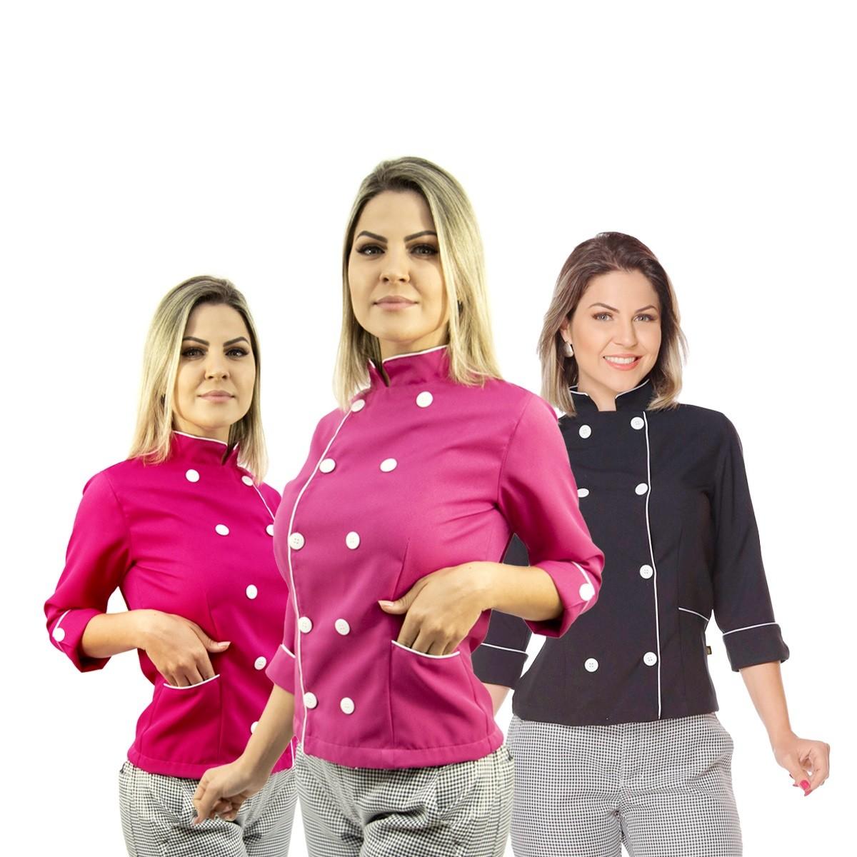 Kit Chef cozinha feminino Dolmã manga 3/4 + Calça feminina + Avental + Chapéu