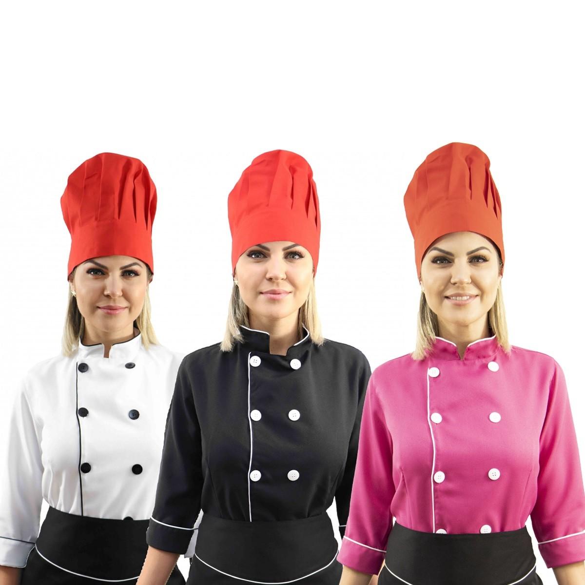 Kit Chef Cozinha Feminino Dolmã Manga 3/4 + Avental preto + Chapéu vermelho