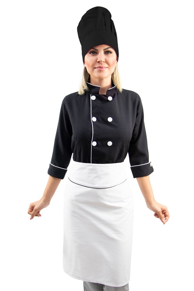 Kit Dolmã 3/4 Chapéu avental chef cozinha feminino