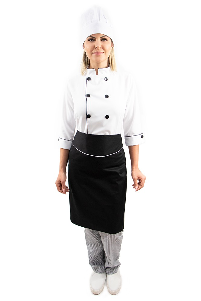 Kit Dolmã manga 3/4 + Chapéu + Avental chef de cozinha feminino