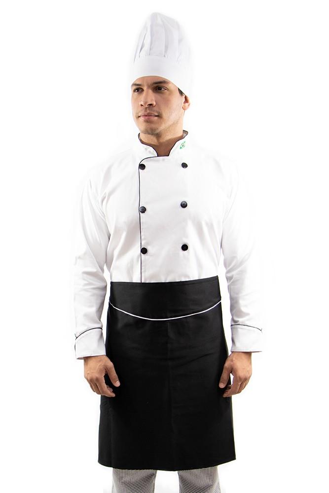 Kit Dolmã Chapéu Avental Chef Cozinha Masculino