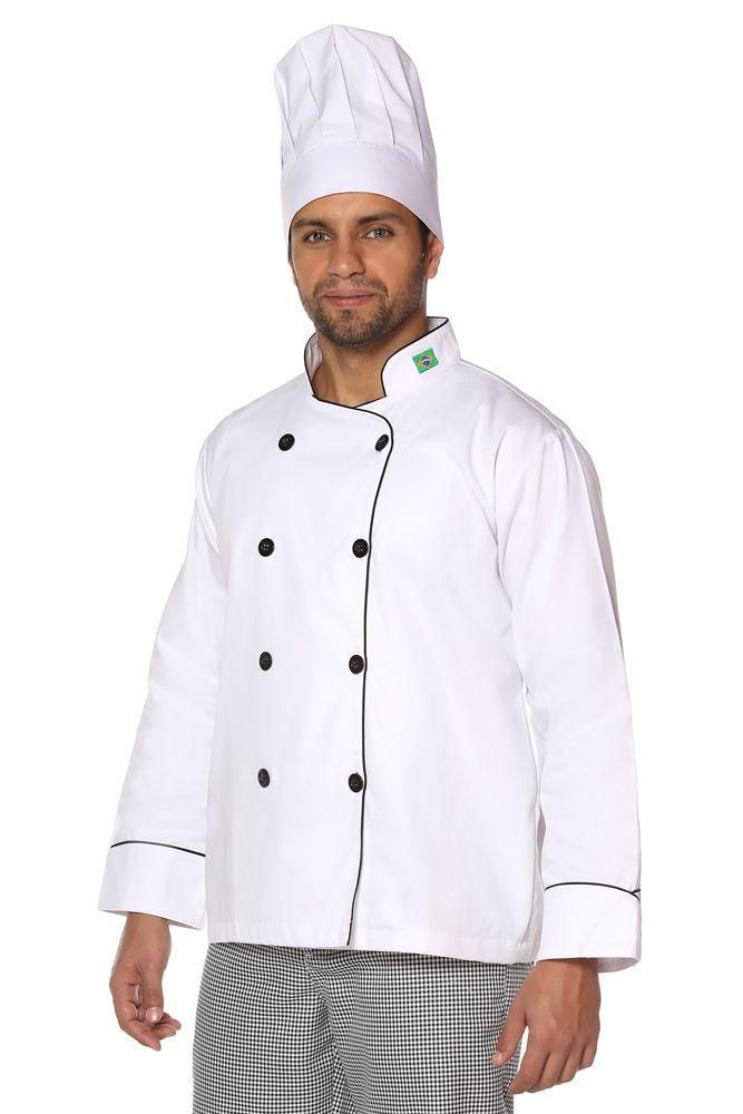 Kit Dolmã Chef Cozinha + Chapéu Chef + Calça Cozinheiro Xadrez Pied Poule