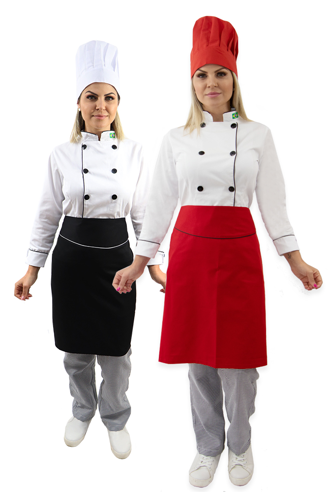 Kit Dolmã chef cozinha feminina + Chapéu + Calça cozinheira + Avental chef