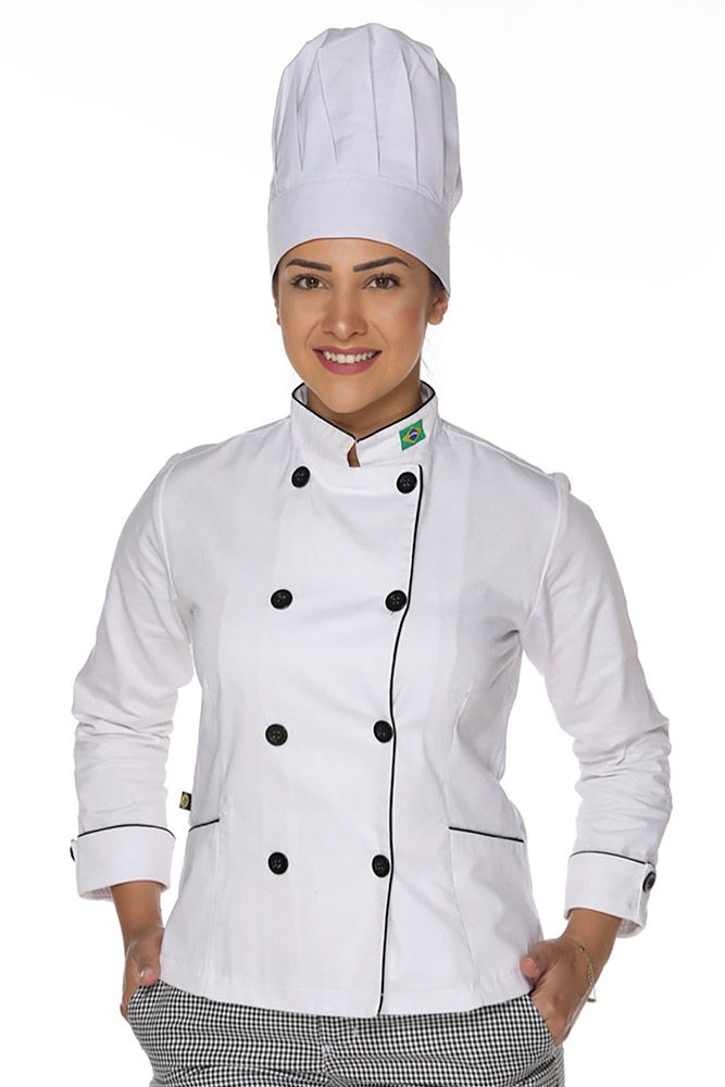 Kit Dolmã chef cozinha feminino algodão + Chapéu de chef cozinha