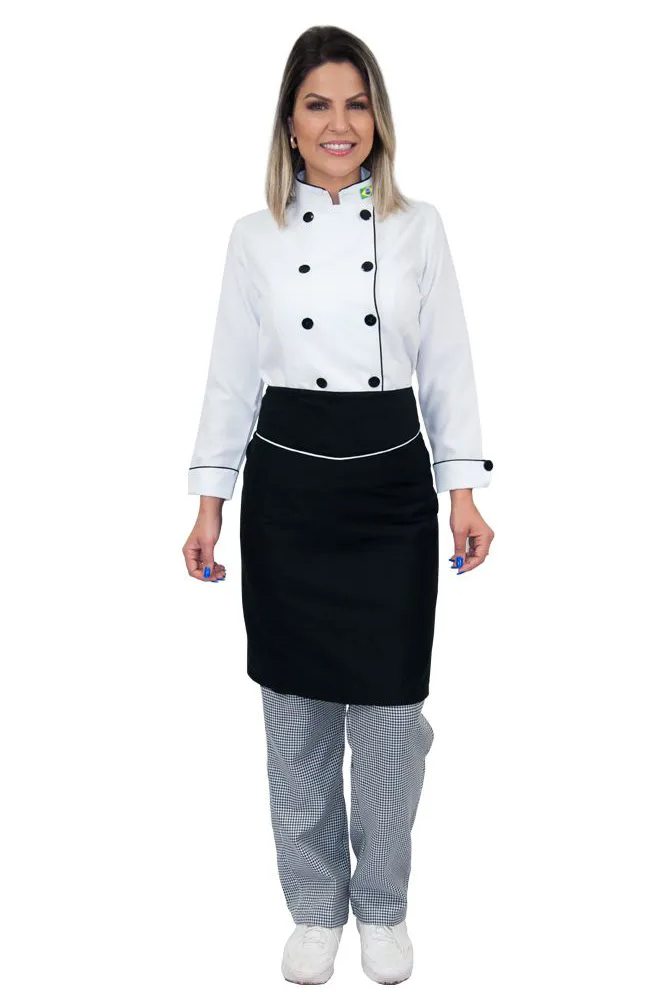 Kit Dolmã chef cozinha feminino + Calça cozinheira + Avental de chef