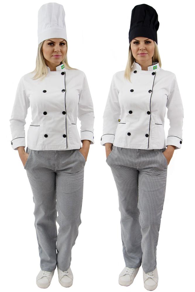 Kit Dolmã chef cozinha feminino + Calça cozinheira + Chapéu chef cozinha