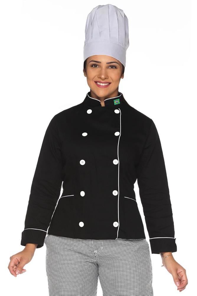 Kit Dolmã chef cozinha feminino + Chapéu de chef cozinha