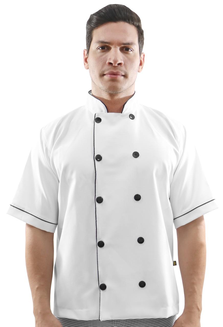 Kit Dolmã Chef manga curta + Calça Chef Cozinha Xadrez Pied Poule