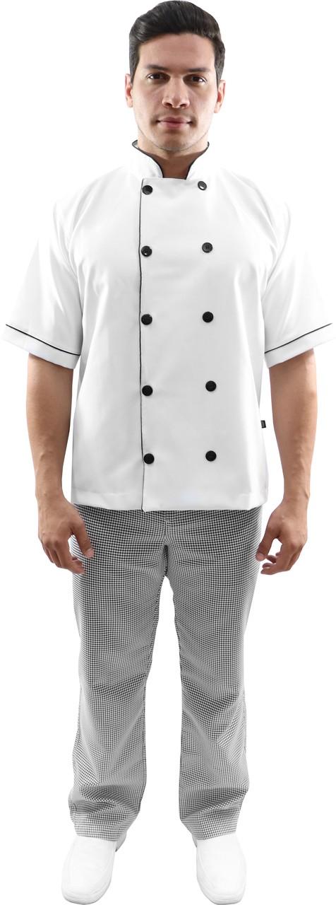 KIT Dolmã chef manga curta + Calça cozinheiro xadrez pied poule