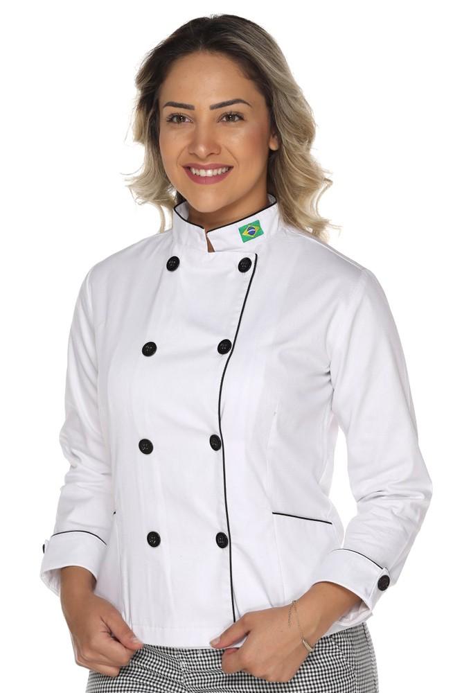 Kit Dolmã feminino Bandeira + Calça Cozinheira + Avental de Chef