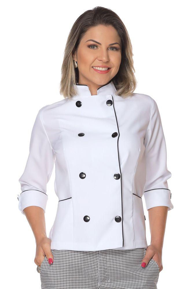 Kit Dolmã manga 3/4 Chapéu Cozinheiro Avental de cintura chef cozinha